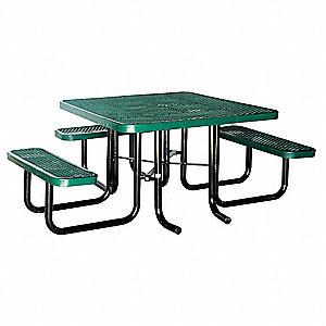 "75""D x 80""W Square Expanded Metal ADA Picnic Table, Green"
