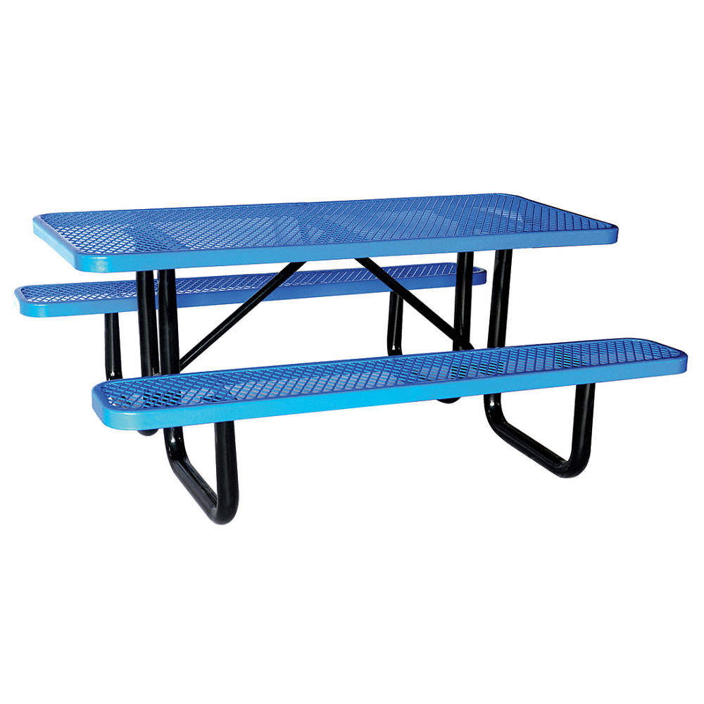 GRAINGER APPROVED D X W Rectangle Expanded Metal Picnic Table - Teal picnic table