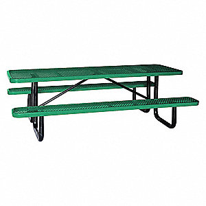 "62""D x 96""W Rectangle Expanded Metal Picnic Table, Green"