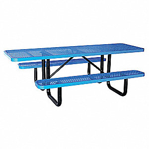 GRAINGER APPROVED D X W Rectangle Expanded Metal ADA Picnic - Ada picnic table requirements