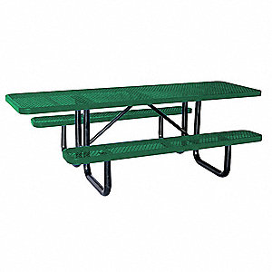 "62""D x 96""W Rectangle Expanded Metal ADA Picnic Table, Green"