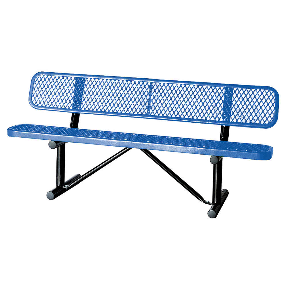 Astonishing Thermoplastic Coated Metal Outdoor Bench Blue 72 Length 24 Width 31 Height Bralicious Painted Fabric Chair Ideas Braliciousco