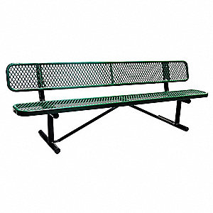 Outdoor Bench,96 in. L,24 in. W,Green