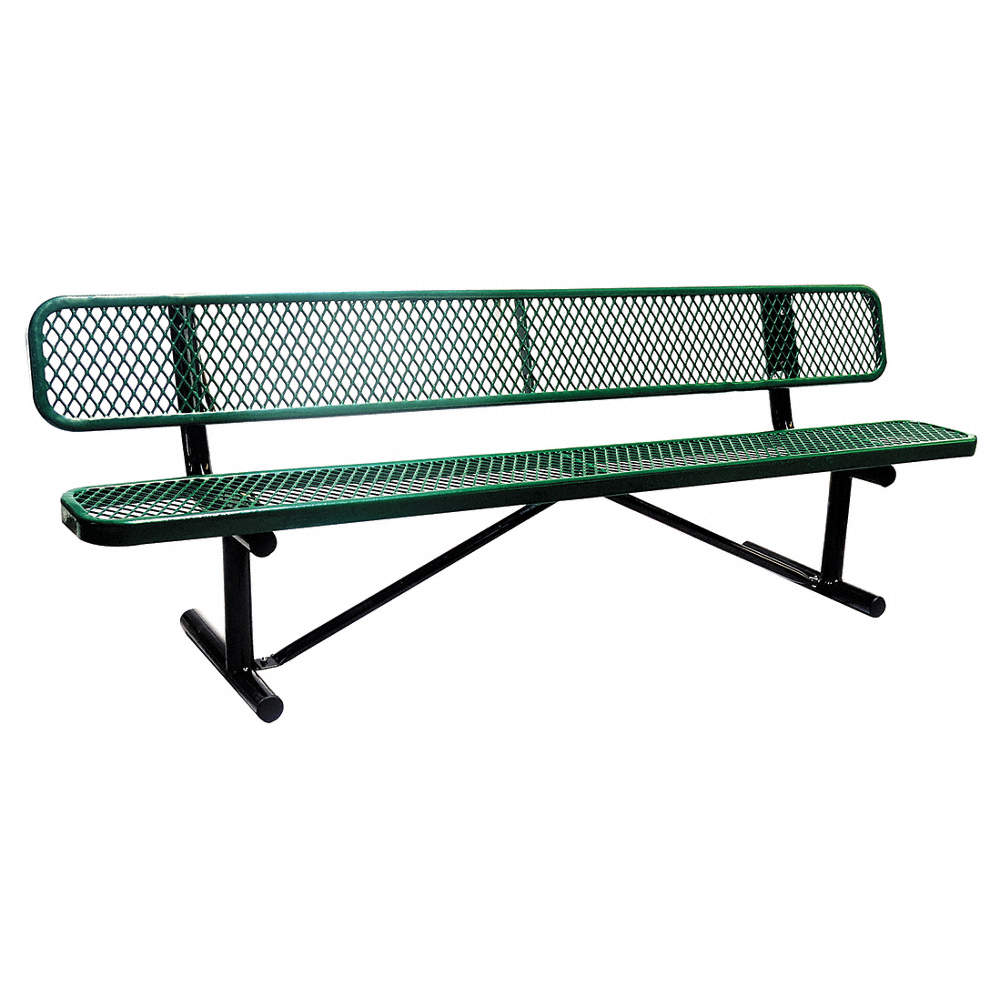 Sensational Thermoplastic Coated Metal Outdoor Bench Green 96 Length 24 Width 31 Height Bralicious Painted Fabric Chair Ideas Braliciousco