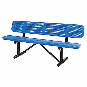 Outdoor Bench,72 in. L,24 in. W,Blue