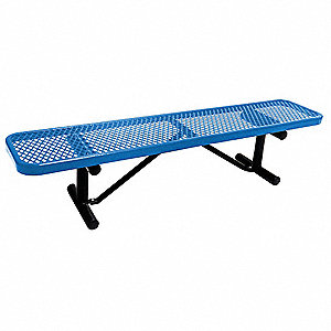 Outdoor Bench,72 in. L,16-3/8 in. H,Blue