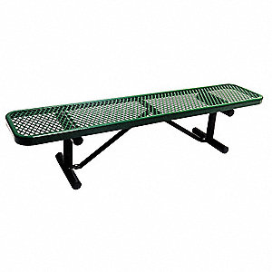 Outdoor Bench,72 in. L,16-3/8 in. H,Grn