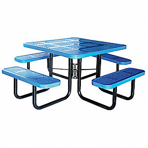 GRAINGER APPROVED D X W Square Perforated Metal Picnic Table - Square metal picnic table