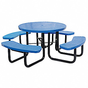 "Picnic Table, 81"" Dia.,Blue"
