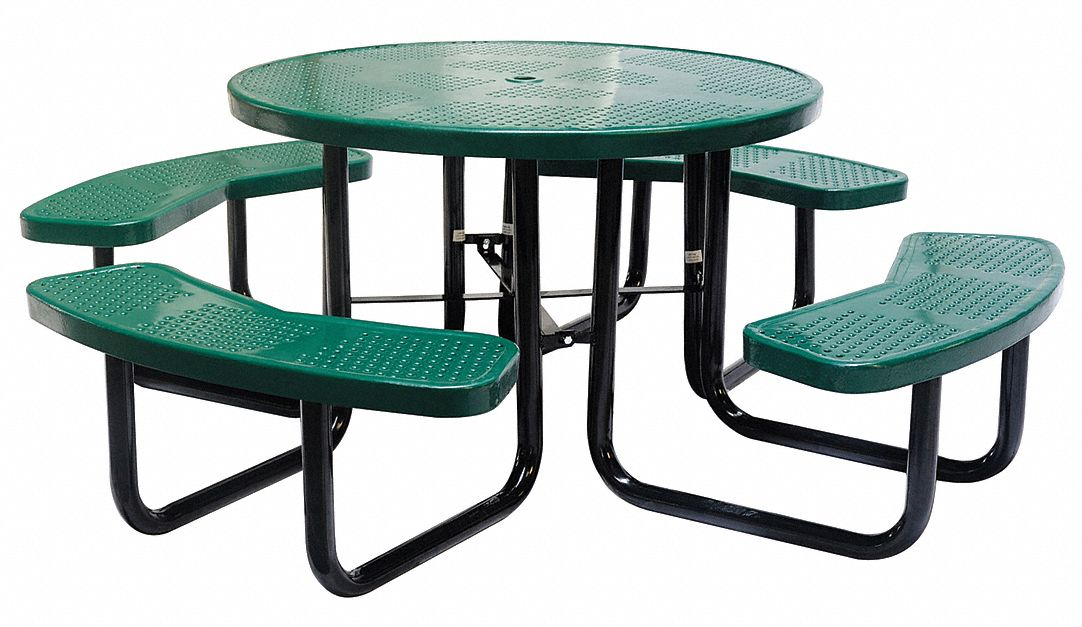 Grainger Approved Round Perforated, Lifetime Round Picnic Table