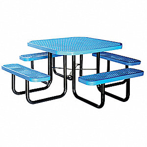 80 inD x 80 inW Octagon Expanded Metal Picnic Table, Blue