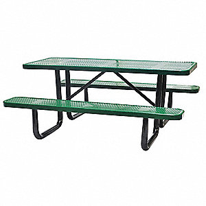 "Picnic Table,72"" W x62"" D,Green"