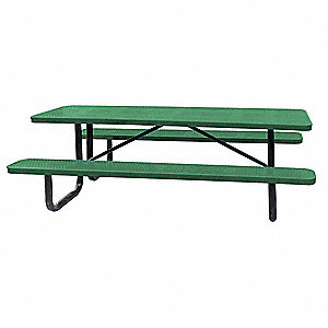 "62""D x 96""W Rectangle Perforated Metal Picnic Table, Green"