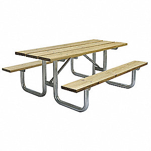 "58""D x 72""W Rectangle Wood Picnic Table, Woodtone"