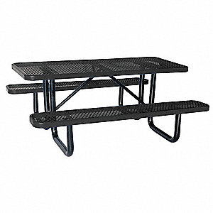 "62""D x 72""W Rectangle Expanded Metal Picnic Table, Black"