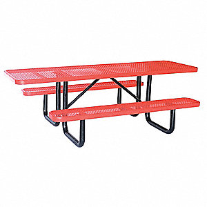 "Picnic Table, W x96"" D,Red"