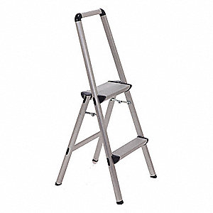 "Aluminum Utility Step Stool, 36"" Overall Height, 225 lb. Load Capacity, Number of Steps 2"