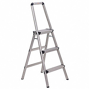 "Aluminum Utility Step Stool, 48"" Overall Height, 225 lb. Load Capacity, Number of Steps 3"