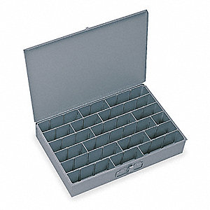 Steel Compartment Drawer, Compartments per Drawer: 12 to 18, Removable Dividers: Yes, Gray