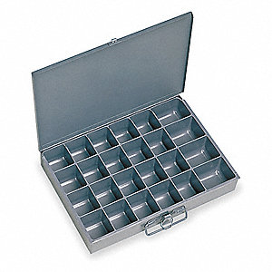 Steel Compartment Drawer, Compartments per Drawer: 24, Removable Dividers: No, Gray
