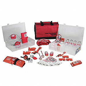 Portable Lockout Kit, Filled, Electrical/Valve Lockout, Satchel, Red