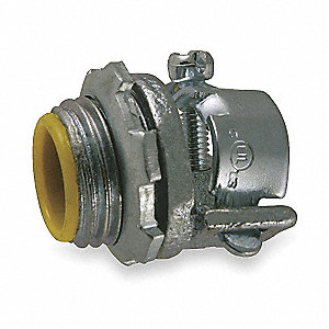 "Connector, Malleable Iron, 3/4"" Conduit Size, 3/4"" NPT Size"