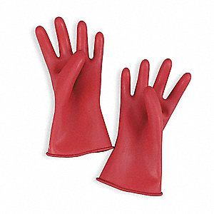 Red Electrical Gloves, Natural Rubber, 00 Class, Size 10