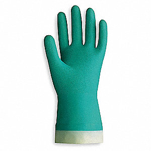 15.00 mil Nitrile Chemical Resistant Gloves, Flock Lining, Green, Size L
