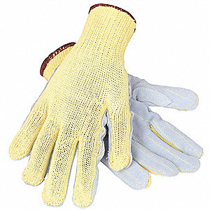 Leather Cut Resistant Gloves, ANSI/ISEA Cut Level 3, Kevlar® Lining, Gray/Yellow, XL, PR 1