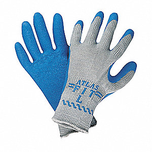 10 Gauge Crinkled Rubber Coated Gloves, Size L, Blue/Gray