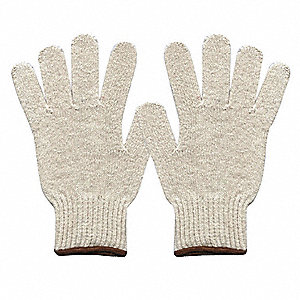 Knit Gloves, Polyester/Cotton Material, Knit Wrist Cuff, Natural, Glove Size: L