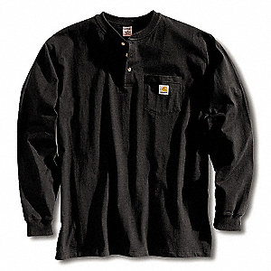 Long Sleeve Henley,Black,3XL