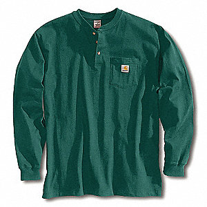 Long Sleeve Henley,Hunter Green,M