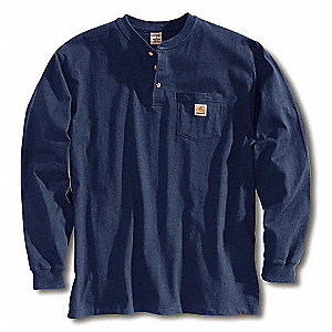 Long Sleeve Henley,Navy,L