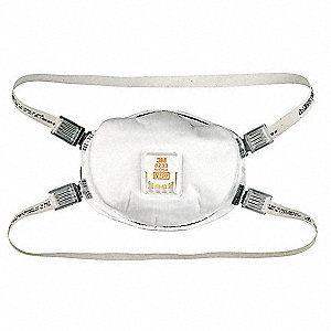 N100 Disposable Particulate Respirator, White, Universal, 1EA