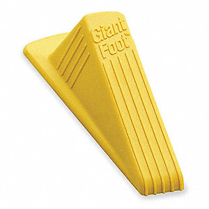 "Door Wedge XL No Slip, Rubber, Safety Yellow, 6-3/4"" Length, 2"" Height, 3-1/2"" Width"