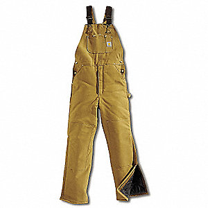"Men's Firm Hand Bib Overalls, Lining Material: 100% Arctic Quilted, Inseam: 28"", Fits Waist Size: 40"