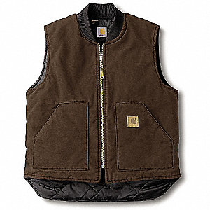 Vest,XL Tall,Brown,Zipper