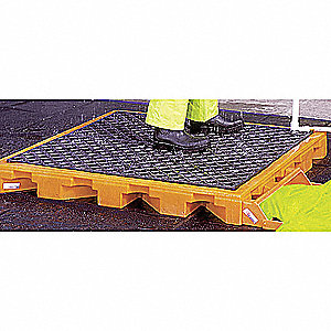 "Decontamination Deck, Orange/Black Polyethylene, Height 5-3/4"", Width 27-7/8"", Length 82-1/2"""