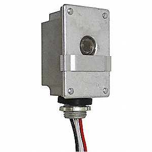 "Photocontrol, 120VAC Voltage, 2000 Max. Wattage, Fixed, 1/2"" Conduit, Flush Mounting"