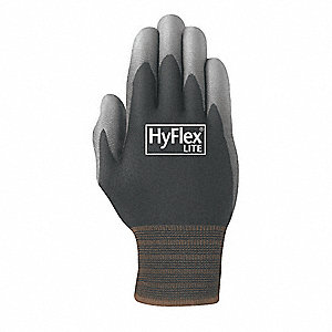 15 Gauge Smooth Polyurethane Coated Gloves, Size 9, Black/Gray
