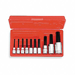"Alloy Steel Socket Bit Set with 3/8"", 1/2"" Drive Size and Chrome Finish&#x3b; Number of Pieces: 10"