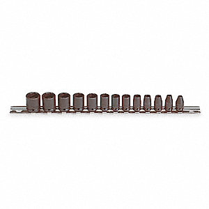 Impact Socket Set,1/4 In Dr,13 pc