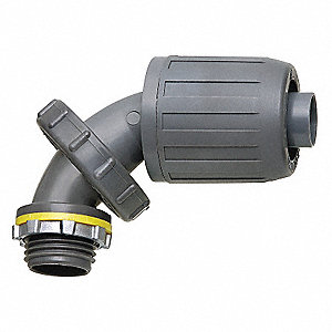UV Rated Plastic Noninsulated Connector, Connector Type: Adjustable from 0 to 90°, Conduit Size:  3/