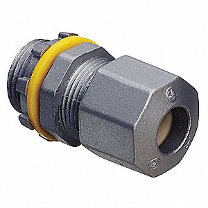"2-11/64""L Zinc Die-Cast Liquid Tight Cord Connector, Silver, 0.38"" to 0.75"" Cord Dia. Range"