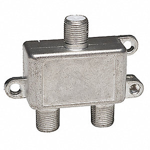 3-Port Coaxial Cable Splitter, Silver