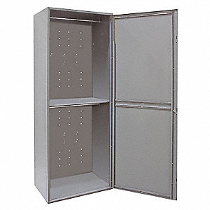 "Dark Gray Uniform Exchange Locker, (1) Wide, (2) Tier Openings: 2, 32-1/2"" W X 21"" D X 84"" H"