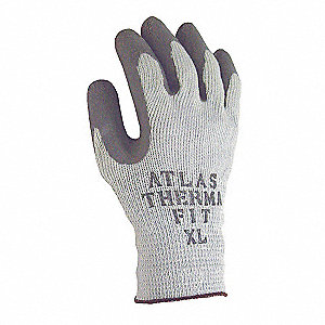 Natural Rubber Latex Coated Gloves, ANSI/ISEA Cut Level 3, Polyester/Cotton Lining, Gray, XL, PR 1