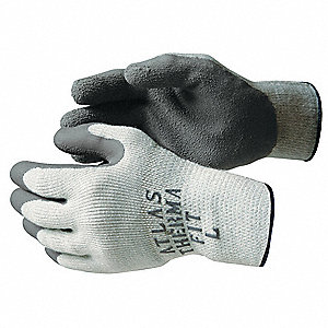 Natural Rubber Latex Coated Gloves, ANSI/ISEA Cut Level 3, Polyester/Cotton Lining, Gray, L, PR 1