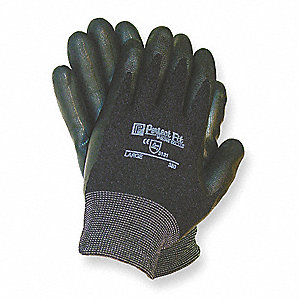 Smooth Nitrile Coated Gloves, Size L, Black